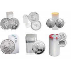 Zestaw 6 tub zawierający łącznie 140 1-uncjowych monet. Monety w stanie menniczym.