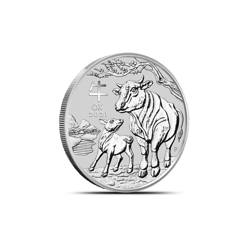 1-uncjowa moneta Rok Bawoła wydana w Australii w 2021 roku. Monety w stanie menniczym.