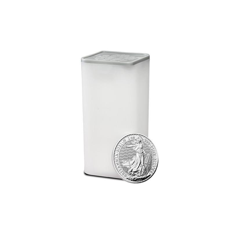 Tuba zawierająca 25 sztuk 1-uncjowych monet Britannia wydanych w Wielkiej Brytanii w 2021 roku. Monety w stanie menniczym.