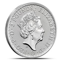 20 tub zawierających łącznie 500 sztuk 1-uncjowych monet Britannia wydanych w Wielkiej Brytanii w 2021 roku. Monety w stanie menniczym.
