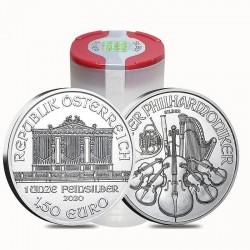Zestaw 5 tub zawierających łącznie 100 sztuk 1-uncjowych monet Wiener Philharmoniker wydanych w Austrii w 2021 roku. Monety w stanie menniczym z banderolą.