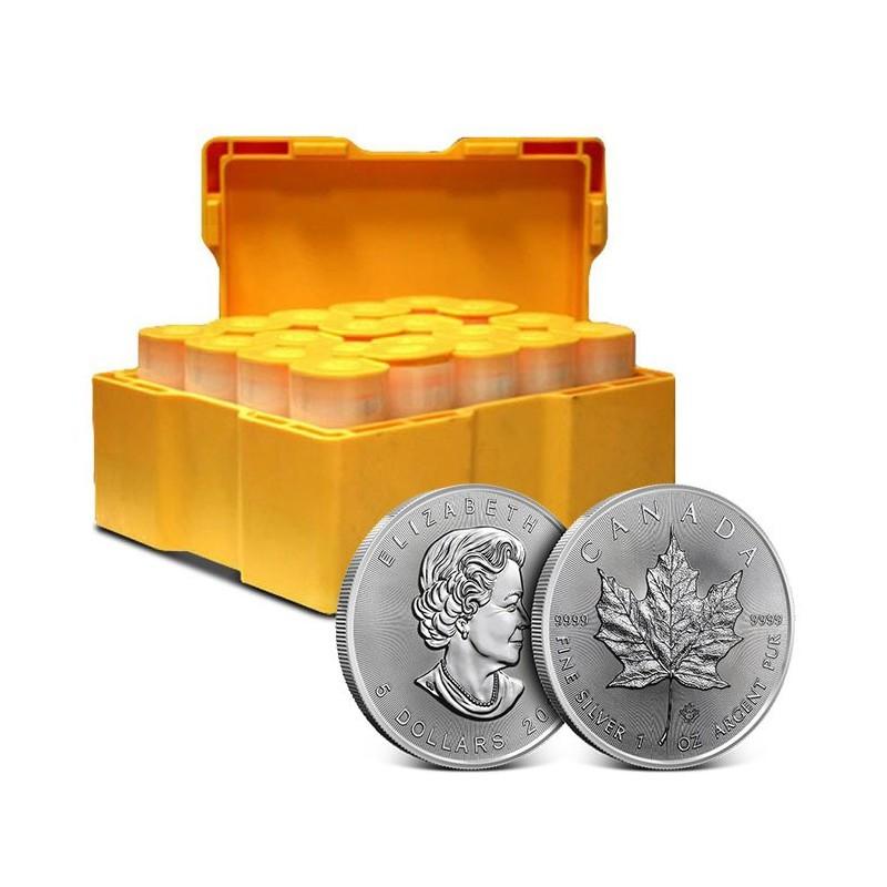 Zestaw tub zawierający łącznie 500 sztuk 1-uncjowych monet o nominale 5$ MAPLE LEAF wydanych w Kanadzie w 2021 roku. Monety w stanie menniczym.