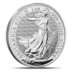 Zestaw 4 tub zawierających łącznie 100 sztuk 1-uncjowych monet Britannia wydanych w Wielkiej Brytanii w 2021 roku. Monety w stanie menniczym.