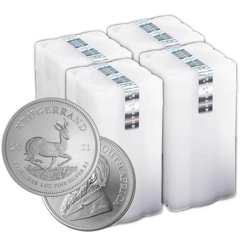 Zestaw 4 tub zawierających łącznie 100 sztuk 1-uncjowych monet Krugerrand wydanych w R.P.A w 2021 roku. Monety w stanie menniczym.