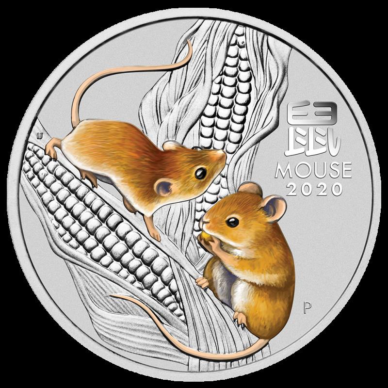 2-uncjowa moneta Rok Myszy wydana w Australii w 2020 roku w wersji kolorowej. Monety w stanie menniczym.