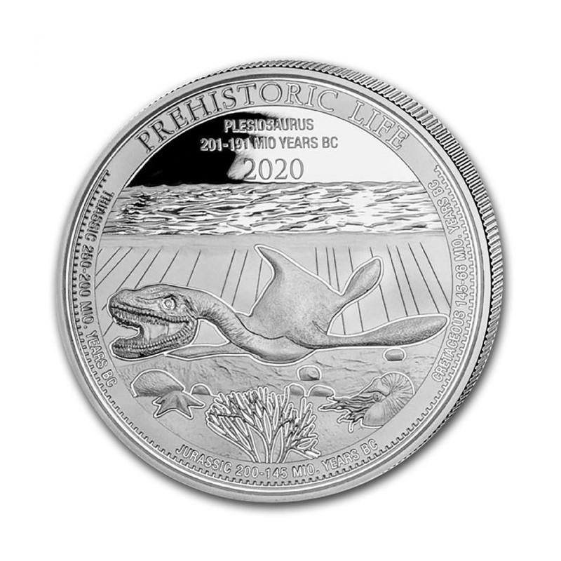 1-uncjowa moneta o nominale 20 franków PLESIOSAURUS wydana w Kongo w 2020 roku. Monety w stanie menniczym.