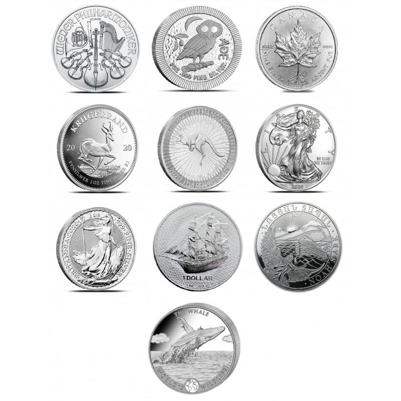1-uncjowa losowa moneta z rynku wtórnego. możliwe rodzaje: Sowa/Kangur/Krugerrand/Britania/Maple Leaf/Philharmoniker Monety z rynku wtórnego, możliwe rysy i/lub patyna.