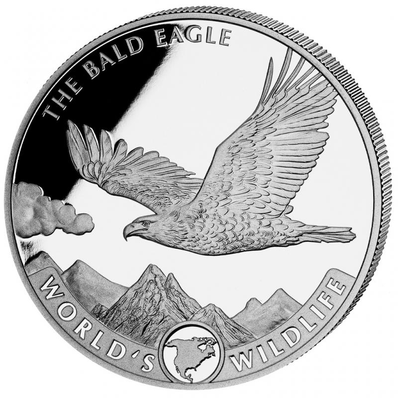 1-uncjowa moneta o nominale 20 franków BALD EAGLE wydana w Kongo w 2021 roku. Monety w stanie menniczym.
