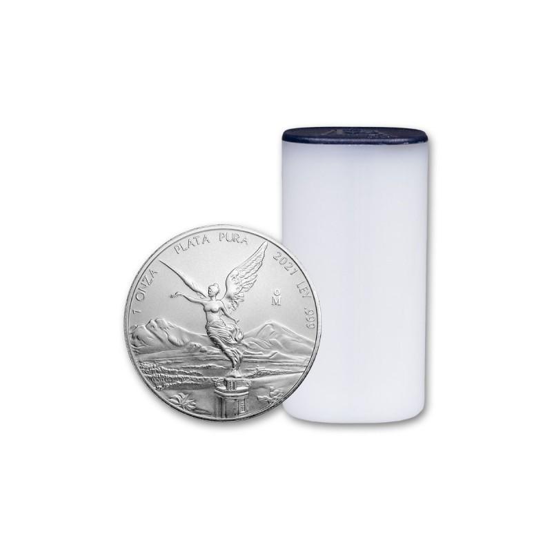 Tuba zawierająca 25 sztuk 1-uncjowych monet Mexican Libertad wydanych przez Mexican Mint w 2021 roku. Monety w stanie menniczym.