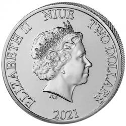 1-uncjowa moneta Disney's The Lion King wydana na wyspach Niue w 2021 roku. Monety w stanie menniczym.