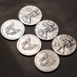 1-uncjowa moneta Amerykański Orzeł wydana w Stanach Zjednoczonych. Monety z rocznika 1987 z możliwą patyną.