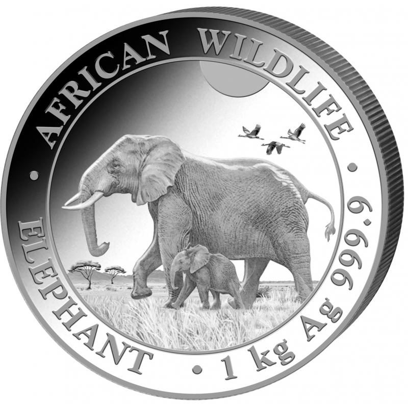 1-kilogramowa moneta Elephant wydana w Somalii w 2022 roku. Monety w stanie menniczym.